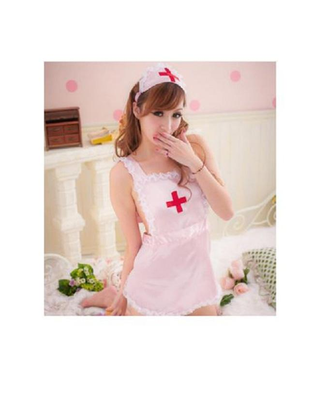 Pink Polyester Nurse Costume Lingerie For Women a295fda4a