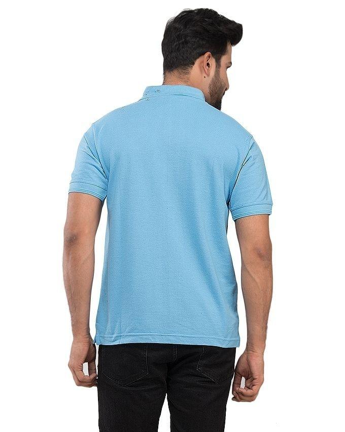 Sky Blue Cotton Polo Shirt for Men