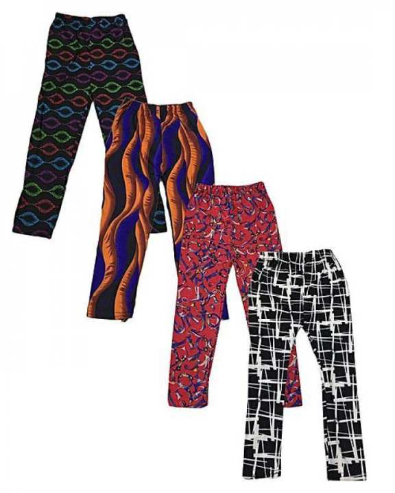Pack Of 4 Random Printed Trouser For Girls