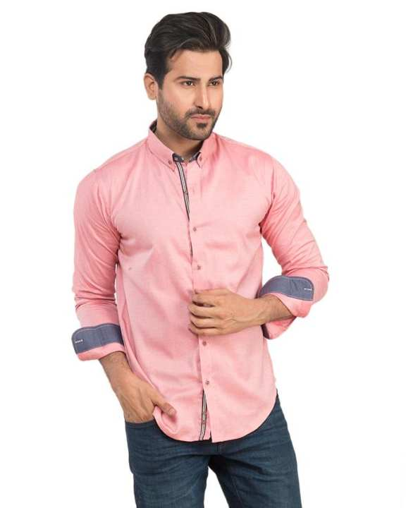 Pink Cotton Self Pinted Shirt For Men