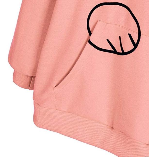 Autumn Cat Ear Hoodies Printed Sweatshirt For Women - Pink