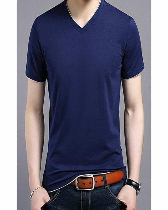Navy Blue Cotton V-Neck T-Shirt For Men
