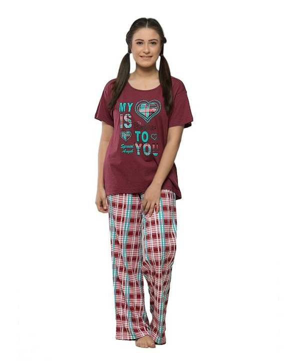 Maroon Jersey Cotton Printed Night Suit for Women - 0989