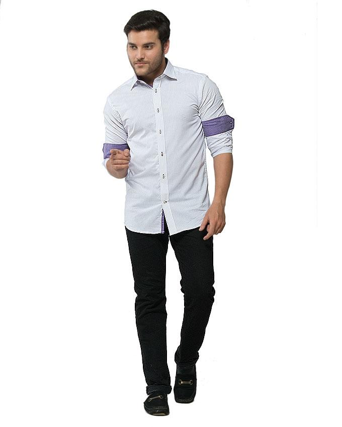 Light Purple Cotton Striped Shirt for Men - FS16024