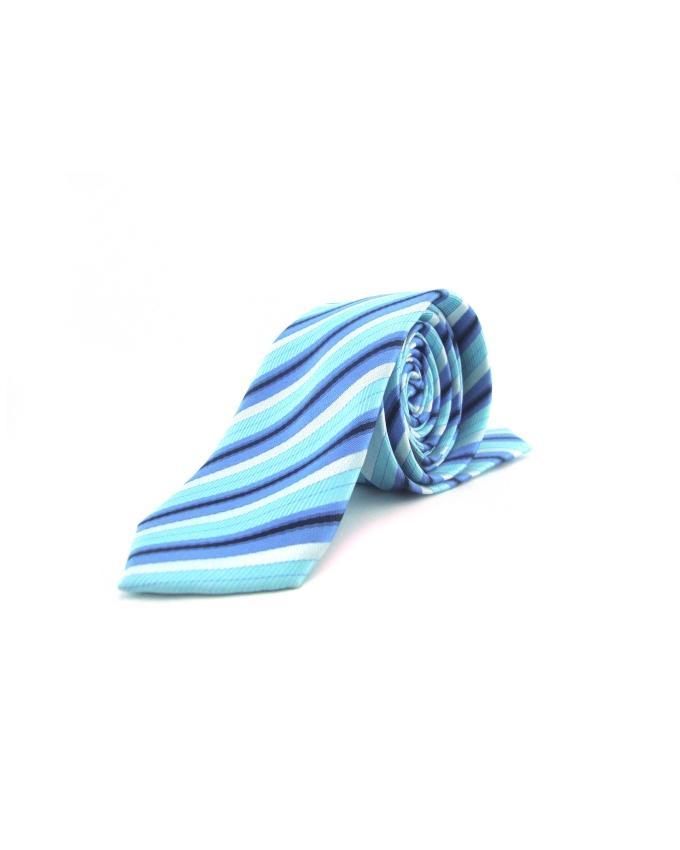 Dark Blue & Sky Blue Polyester Skinny Tie