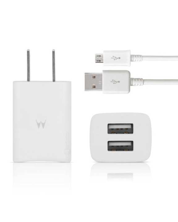 Dual USB 2-Port Power Wall Charger Adapter & Micro USB Cable - White