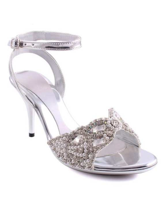 "Silver ""Maisie"" Ankle Strap Open Toe Sandals-L29798"