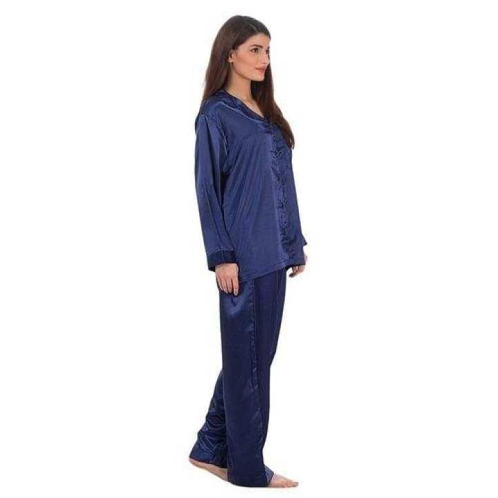Navy Blue Solid Satin Silk Pajama Set For Women - Pj08 Nv
