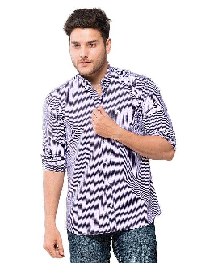 Purple Striped Cotton Shirt for Men - EPS12