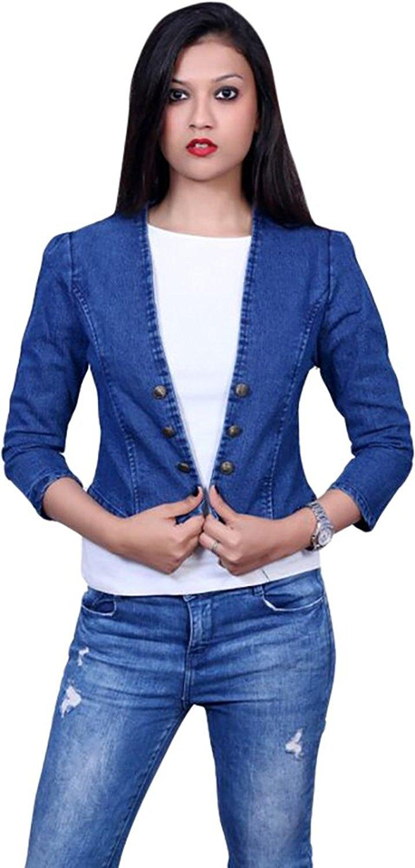 Royal Blue Denim Jeans Winter Jacket for Women