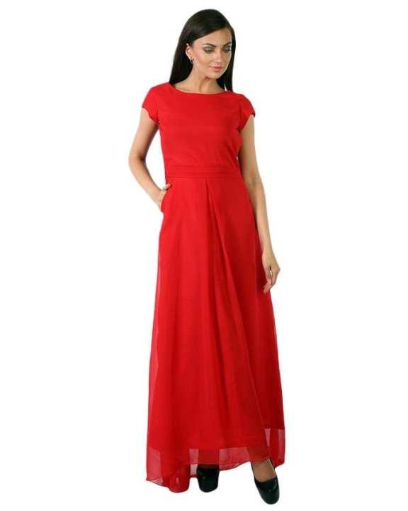Red Chiffon Long Flared Maxi Dress For Women - SI-305