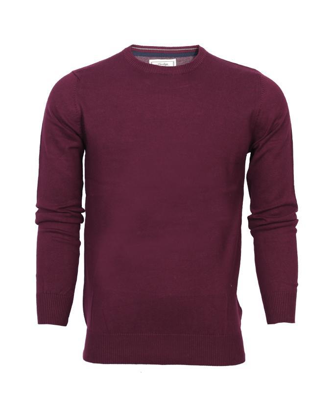 Maroon Plain Round Neck full sleeve Sweater For Men