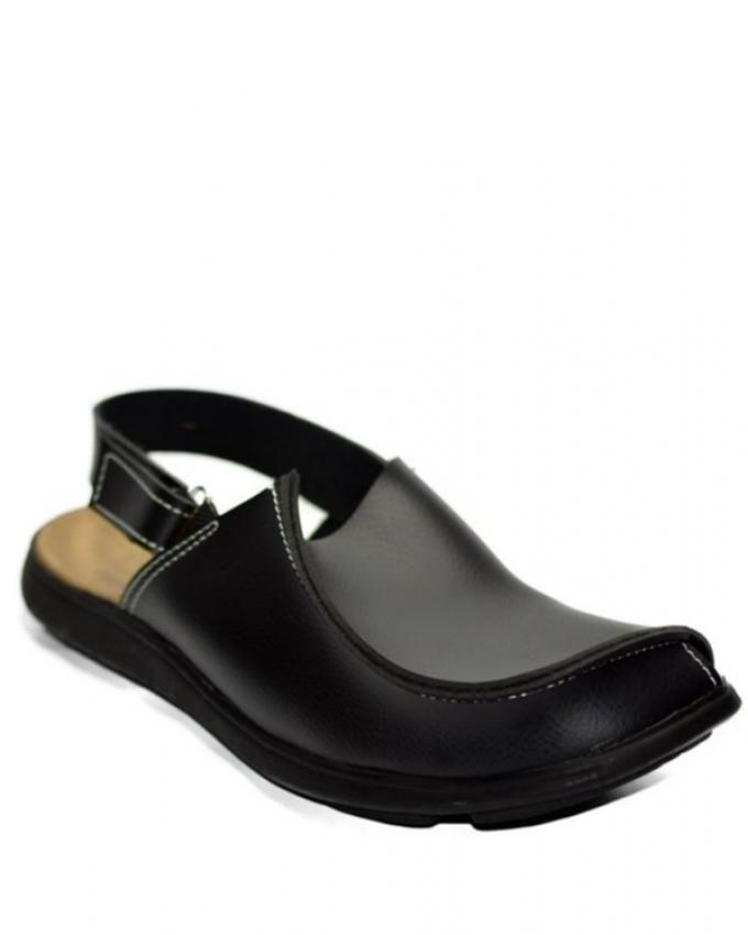 Black Leather Peshawari Sandal For Men - EP_55