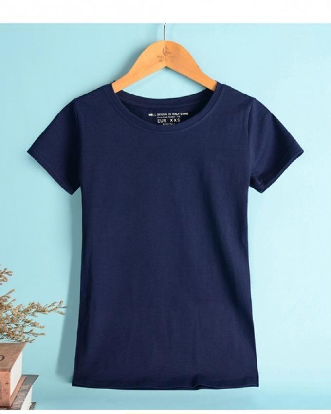 Navy Blue Cotton Plain Tshirt For Women 2102020