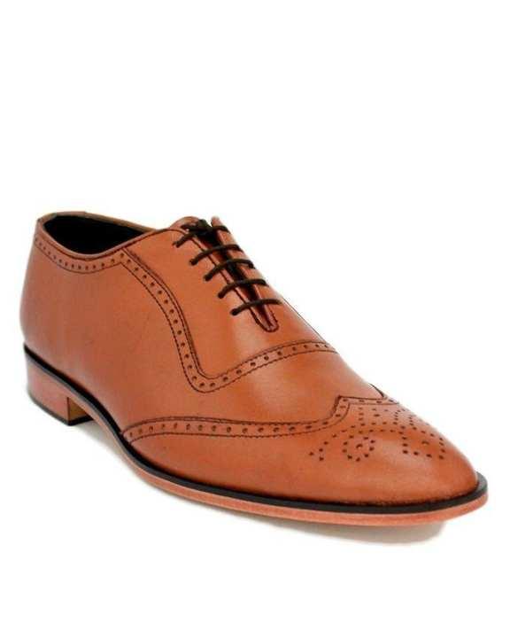 JC-112-Mustard Brown Leather Executive Brogue Shoe