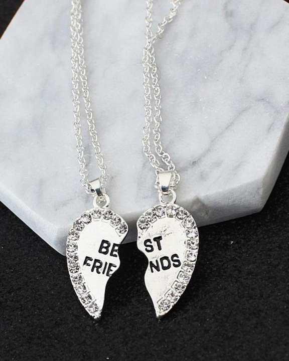 Best Friends Necklace - Friendship Silver Heart Chain - DN11SL