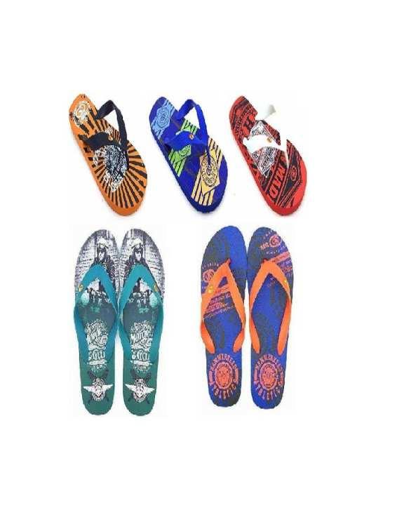 Pack Of 5 - Green, Red, Orange, Blue, Light Blue Rubber Slippers For Men