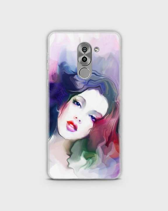 Cover For Huawei Honor 6x Hybrid Soft Girl Face Print -1cover2817