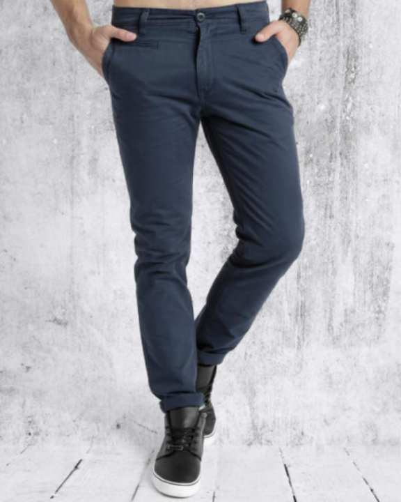 Blue Cotton Chino Pant For Men