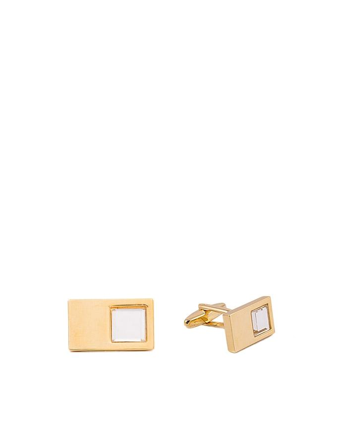 Stone Studded Flashy Golden Cufflinks for Men - GEP-34