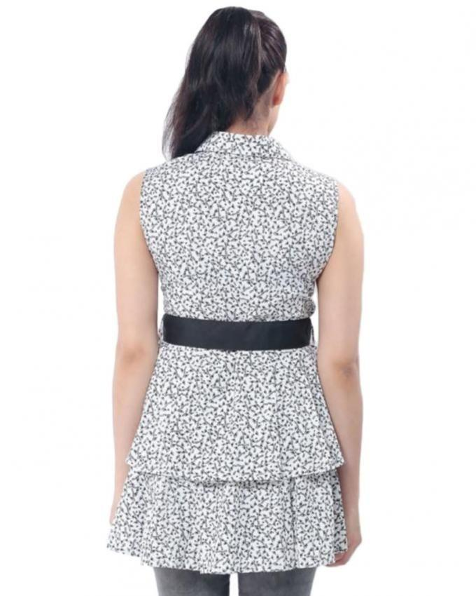 Black & White Cotton Floral Print Peplum Top for Women - MD-1972