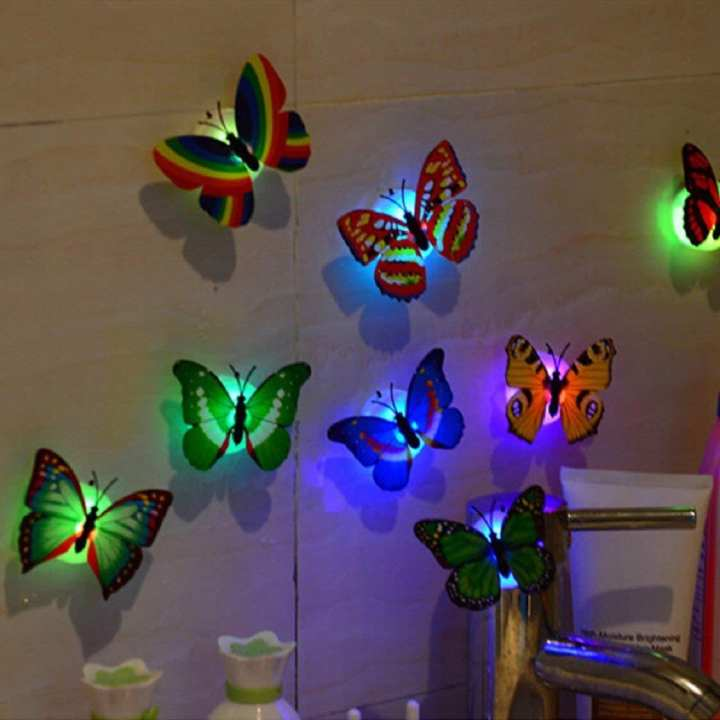 Pack of 2Wall Stickers Butterfly LED Lights Wall Stickers Colorful Light 3D Simulation butterfly Luminous Wall stickers House Kid Bedroom Decoration