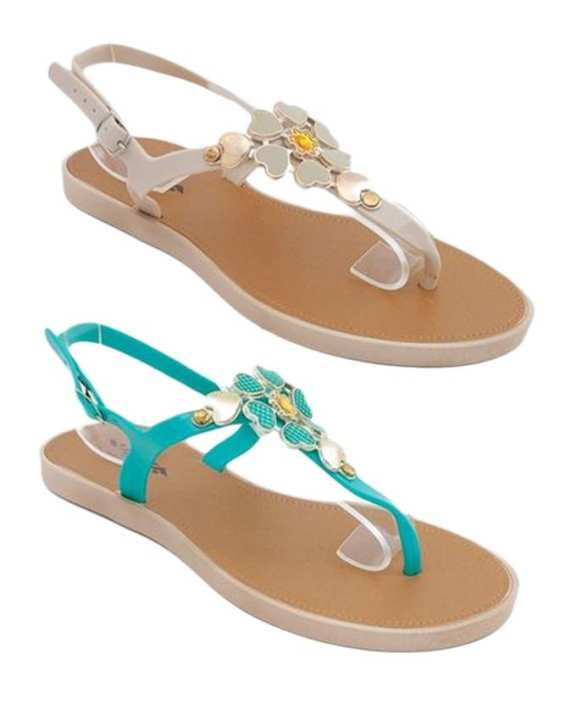 Pack Of 2 - Sea Green & Cream Imported Italian Design Fancy Sandals For Women - Mt11