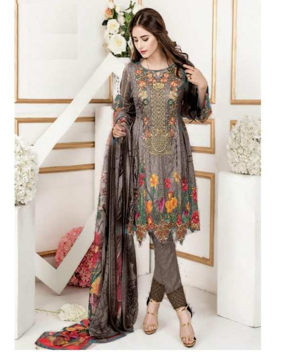 Brown Embroidery Lawn Unstitched 3 Piece Suit Buy Online