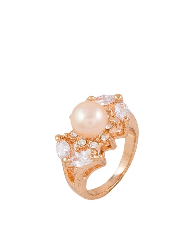 Golden Zircon Studded Ring with Pearl