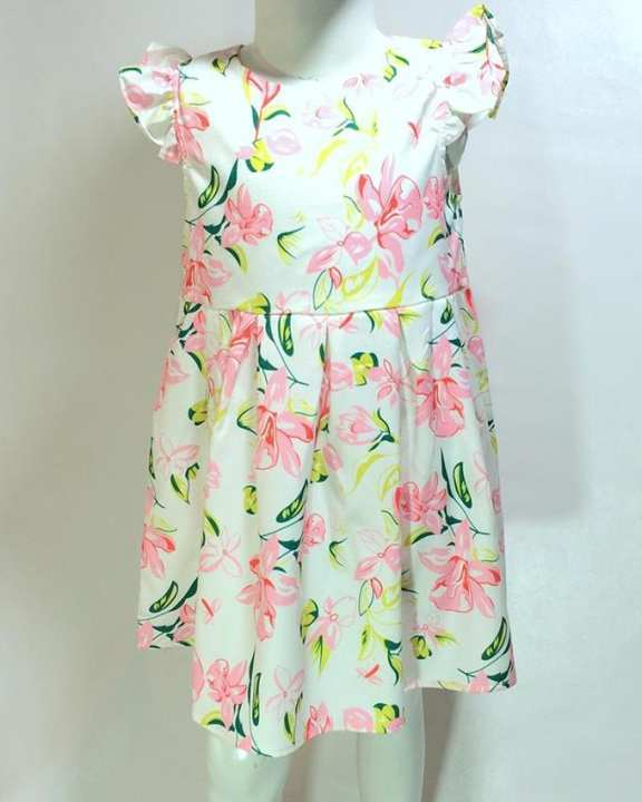 White Cotton Printed Girls Frock