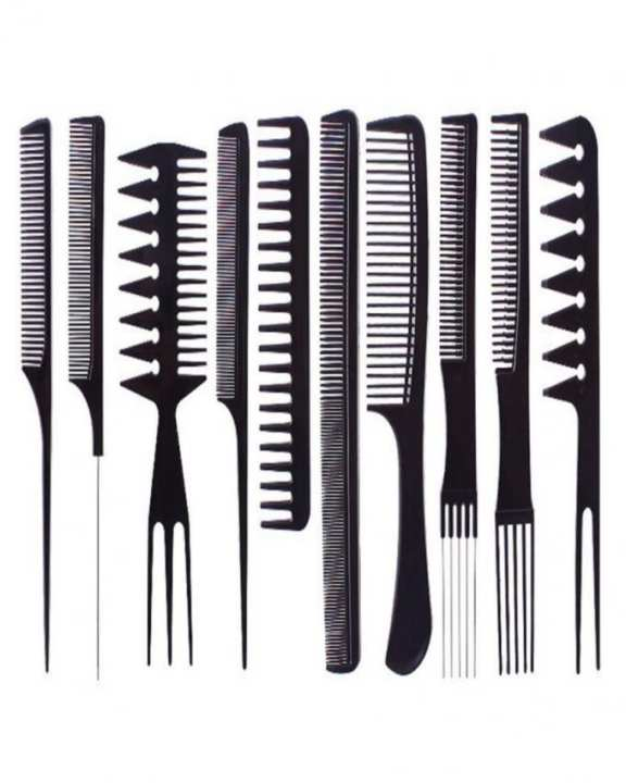 Pack of 10 - Professional Salon Hair Comb Set - Black