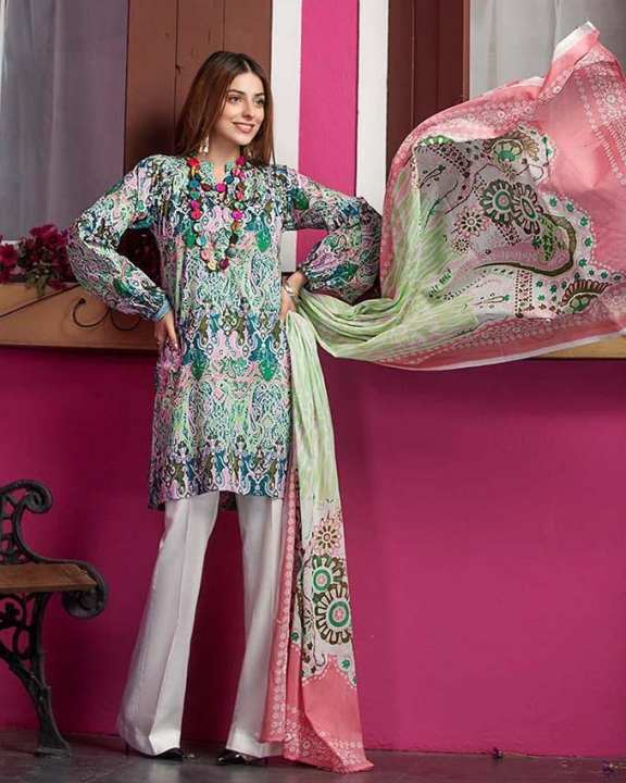Multi Normal Printed 2 Pcs (D/S) with Print Borders-Unstitched