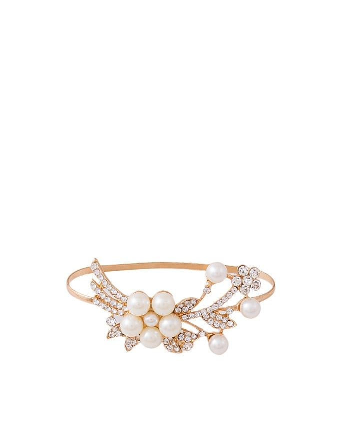 Golden Plated Pearl Hand Bangle for Women - J-095