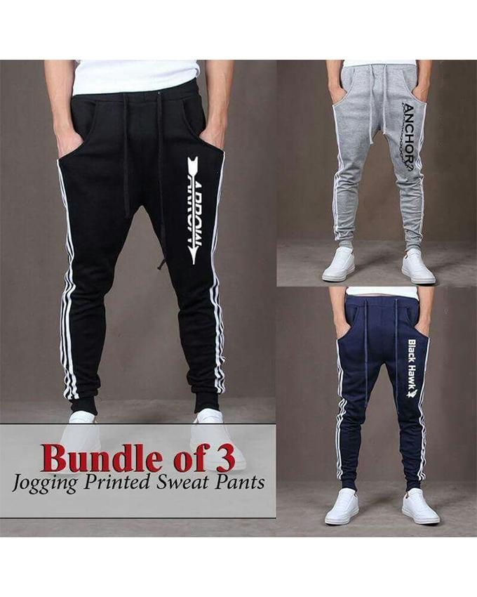 6438678036 Pack Of 3 Jogging Printed Trousers For Men