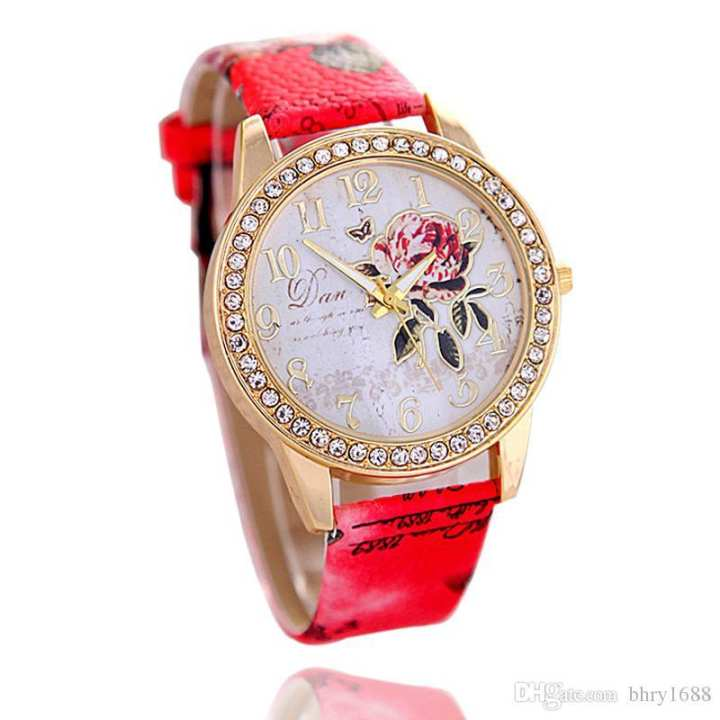 Fashion printed leather ladies watche diamond rose pattern gold shell quartz watch women girl party gift new causal dress watch