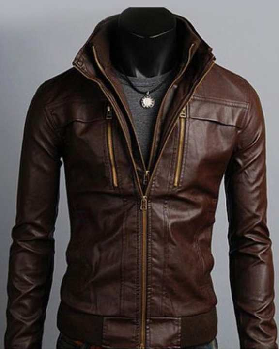 Brown Bomber Faux Leather Jacket Custom Made 3 Otf -Brown