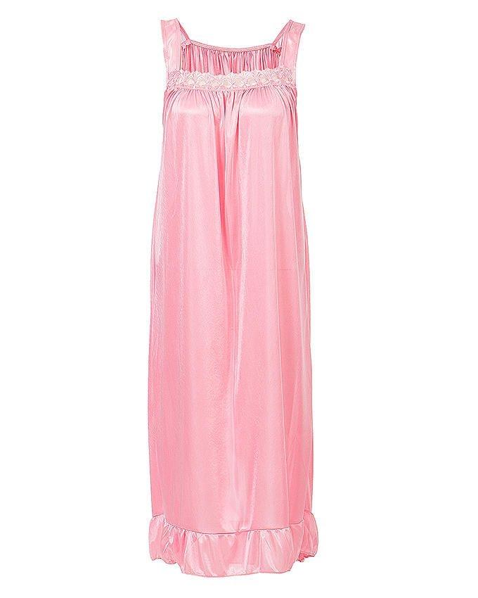 Pink Nylon Long Nightwear For Women