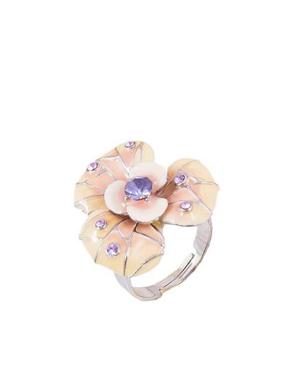 Purple Enameled Flower Ring