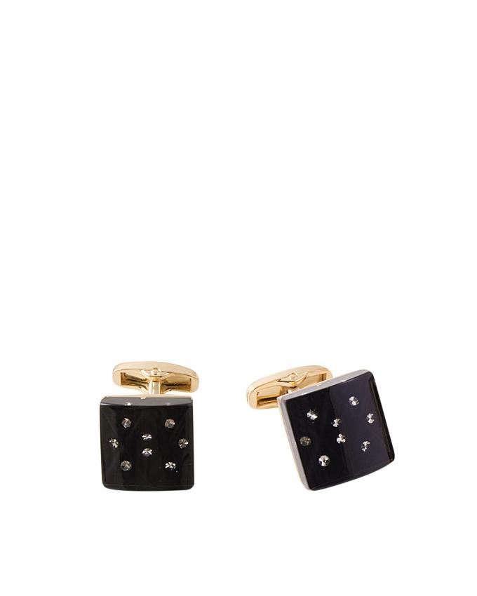 Jet Black Gold Plated Cufflink with White Zircons
