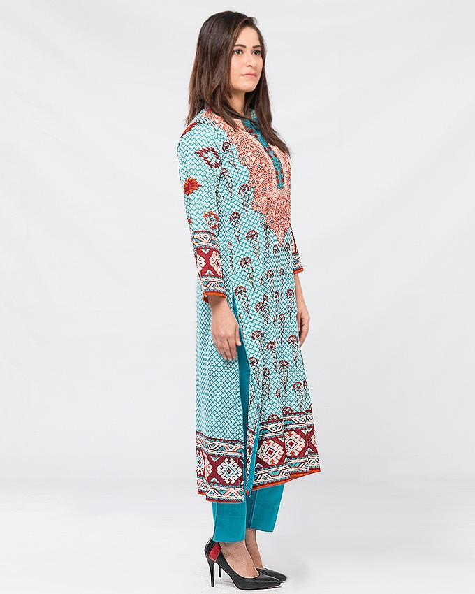 Blue Lawn Printed Suit for Women - 3Pcs
