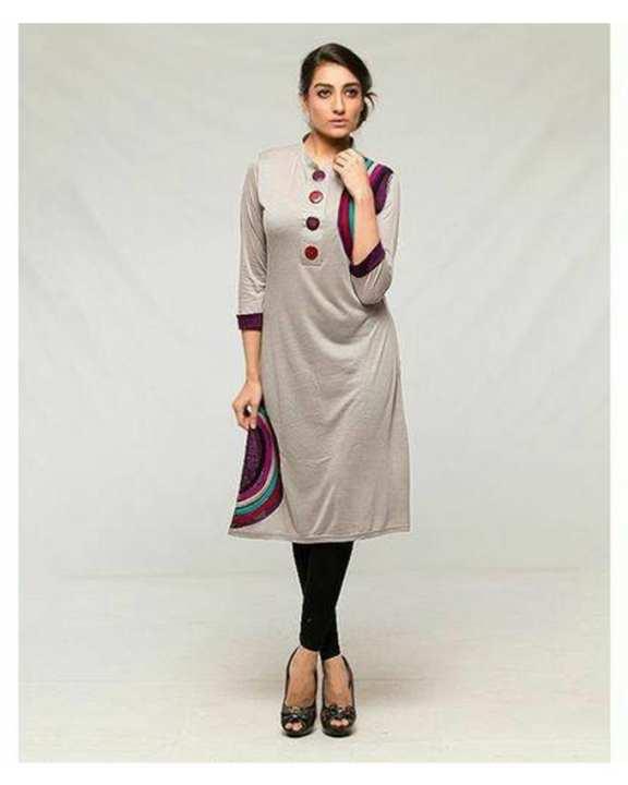 Light Grey Cotton D Kurti For Women