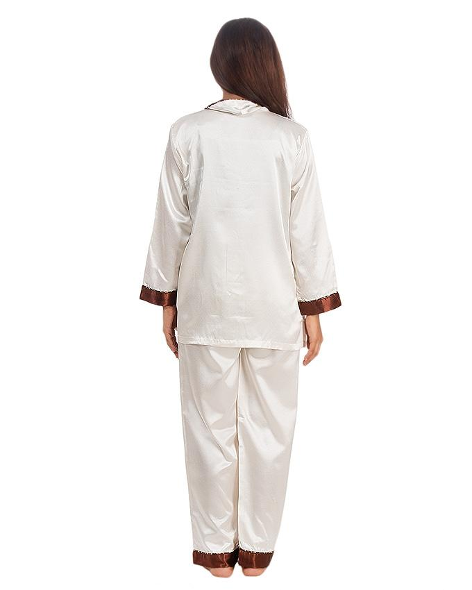Ivory and White Solid Satin Silk Shown Collar Pj Set For Women - Pj15 Iv