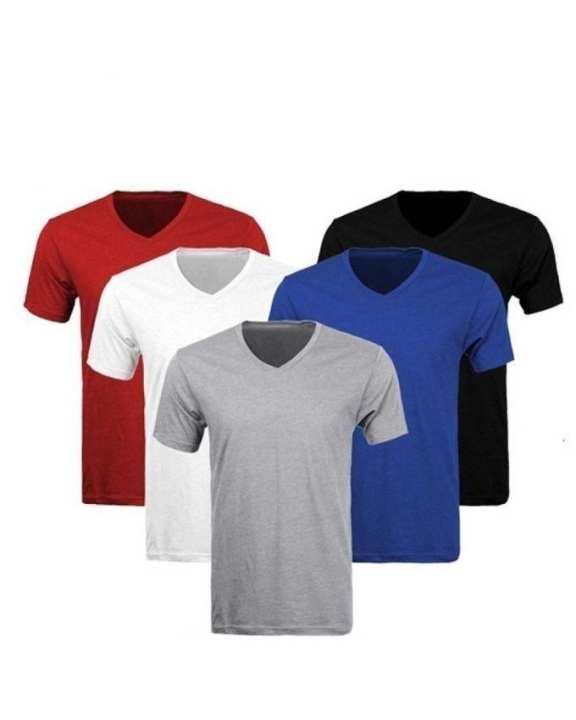 Pack Of 5 - Multicolor Plain Cotton Vneck Tshirts - Esp5vn6000m