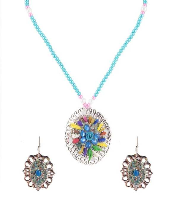 Multi Color Metal Hand Made Necklace & Earring Set for Women - RIZ-NKS-56