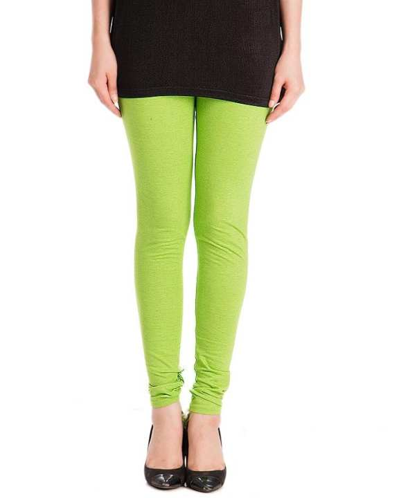 Light Green Cotton Jersey Churidaar Tights For Women