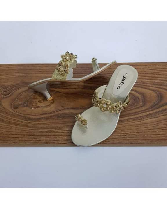 Golden Rexine Heeled Slides For Women