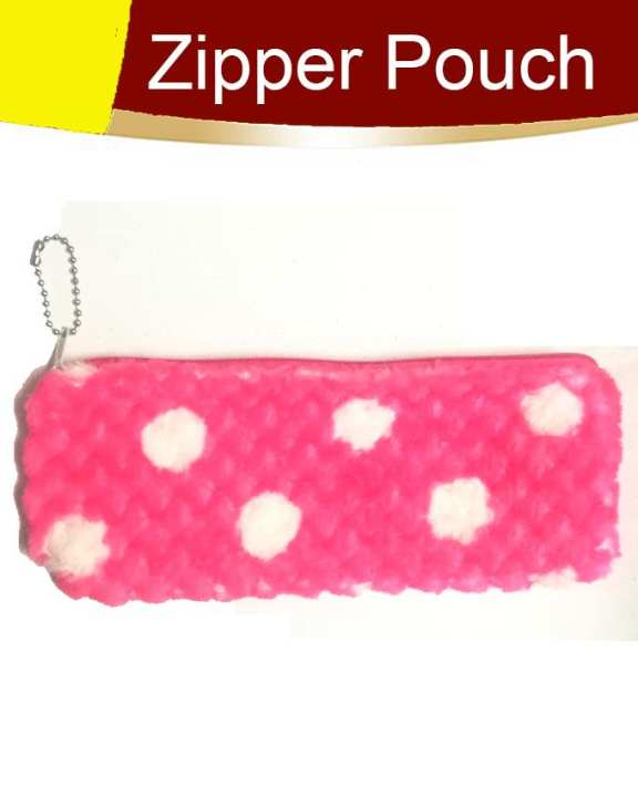 Pack of 1 Fancy Zipper Pouch Pink White Dots