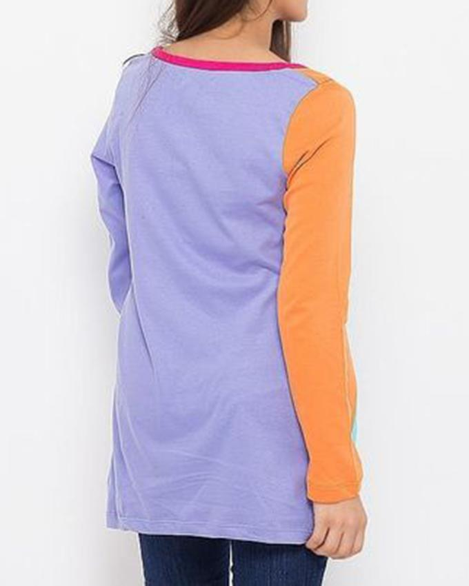 Multicolour Cotton Jersey Diagonal Panel Shirt for Women - 7862-125