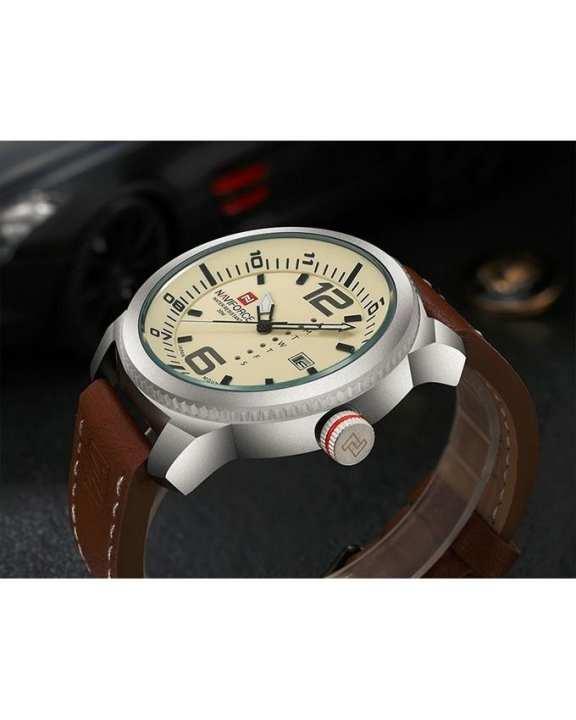 NAVIFORCE 9063 Silver & Brown Quartz Watch - For Men