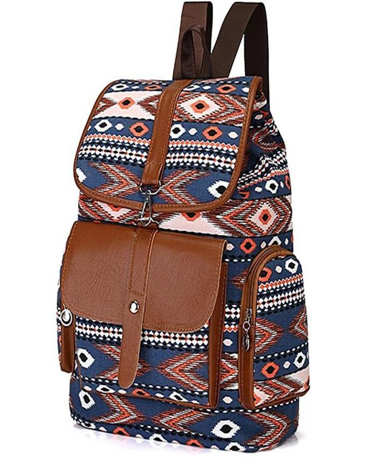 England Style Canvas Backpack Stylish College Bag for Girls a60fcb2989